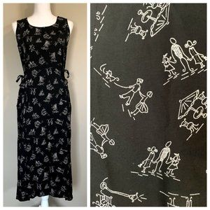 VTG 90s Stick Figure Novelty Tie Waist Maxi Dress